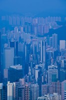 High angle view of buildings in a downtown district, Central District, Hong Kong Island, Hong Kong Fine-Art Print