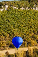 Elevated view of hot air balloon over Dordogne River Valley, Castelnaud-la-Chapelle, Dordogne, Aquitaine, France Fine-Art Print