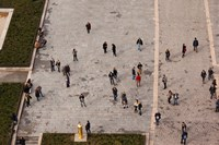 Aerial view of tourists viewed from Notre Dame Cathedral, Paris, Ile-de-France, France Fine-Art Print