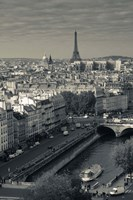 City with Eiffel tower in the background viewed from Notre Dame Cathedral, Paris, Ile-de-France, France Fine-Art Print