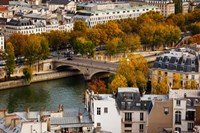 Seine River and city viewed from the Notre Dame Cathedral, Paris, Ile-de-France, France Fine-Art Print