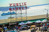 People in a public market, Pike Place Market, Seattle, Washington State, USA Fine-Art Print