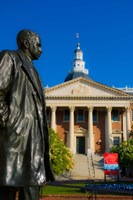 Statue with a State Capitol Building in the background, Annapolis, Maryland, USA Fine-Art Print