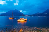 Boats anchored in the Lake Como, Varenna, Lombardy, Italy Fine-Art Print