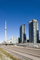 Skyscrapers and Railway yard with CN Tower in the background, Toronto, Ontario, Canada 2013 Fine-Art Print