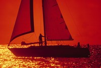 Silhouette of a sailboat in a lake, Lake Michigan, Chicago, Cook County, Illinois, USA Fine-Art Print
