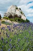 Lavender field in front of ruins of fortress on a rock, Les Baux-de-Provence, Provence-Alpes-Cote d'Azur, France Fine-Art Print