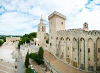 Buildings in a city, Cathedrale Notre-Dame des Doms d'Avignon, Palais des Papes, Provence-Alpes-Cote d'Azur, France Fine-Art Print