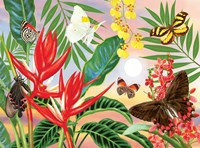 Butterflies and Red Christmas Heliconia Fine-Art Print