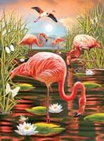 Flamingos-Vertical Fine-Art Print