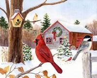 Cardinal, Chickadee & Christmas Barn Fine-Art Print