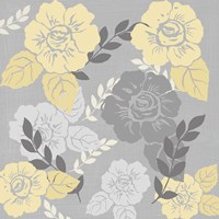 Yellow Roses on Grey I Fine-Art Print