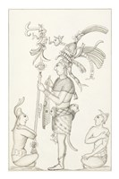 Drawing of stucco relief at the Palace, Maya ruins at Palenque Fine-Art Print