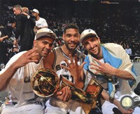 Tony Parker, Tim Duncan, Manu & Ginobili with the NBA Championship Trophy Game 5 of the 2014 NBA Finals Fine-Art Print
