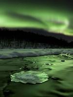 Aurora Borealis reflects off the Tennevik River, Troms County, Norway Fine-Art Print