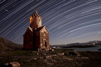 Star trails above Dzordza church, Iran Fine-Art Print