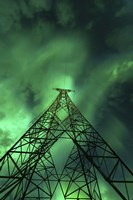 Powerlines and aurora borealis, Tjeldsundet, Norway Fine-Art Print