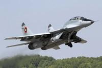 A Bulgarian Air Force MiG-29UB taking off from Graf Ignatievo Air Base Fine-Art Print