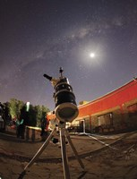 Astrophotography setup with the moon and Milky Way in the background Fine-Art Print