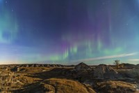 Aurora borealis over the badlands of Dinosaur Provincial Park, Canada Fine-Art Print