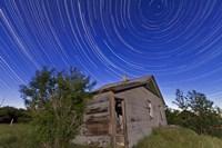 Circumpolar star trails above an old farmhouse in Alberta, Canada Fine-Art Print