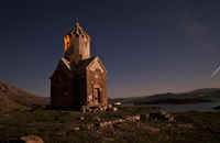 Starry night sky above Dzordza church, Iran Fine-Art Print