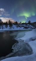Aurora Borealis over Tennevik River, Troms, Norway Fine-Art Print