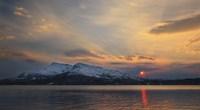 Midnight Sun over Tjeldsundet strait in Troms County, Norway Fine-Art Print
