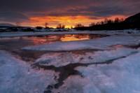 A fiery sunrise over Lavangsfjord, Troms, Norway Fine-Art Print