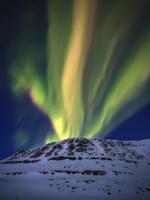 Aurora Borealis over Toviktinden Mountain in Troms County, Norway Fine-Art Print