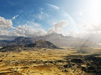 Clouds break over a desert on Matsya, giving a glimpse of the planet Samandar Fine-Art Print