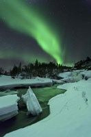 Aurora Borealis over a frozen Tennevik River, Troms, Norway Fine-Art Print
