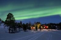 Aurora Borealis over farm houses, Tennevik Lake, Troms, Norway Fine-Art Print