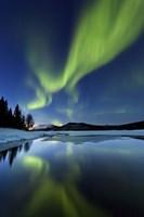 Aurora Borealis over Sandvannet Lake in Troms County, Norway Fine-Art Print