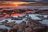 Tidal pools reflect the sunrise colors during the autumn equinox Fine-Art Print