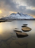 Novatinden Mountain and Skoddeberg Lake in Troms County, Norway Fine-Art Print