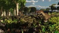 Utahraptors hunting the early iguanodonts, Tenontosaurus Fine-Art Print