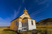 The old pioneer church in Dorothy, Alberta, Canada, on a starry night Fine-Art Print