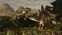 A large carnivorous Torvosaurus preying on a Stegosaurus Fine-Art Print