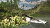 A Nothosaurus catches an unware Ceolophysis Fine-Art Print