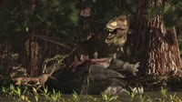 A T-Rex returns to his kill and finds some poaching raptors Fine-Art Print