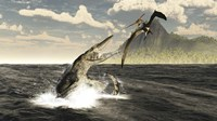 A Tylosaurus jumps out of the water, attacking a Pteranodon Fine-Art Print