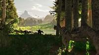 Ceratosaurus dinosaurs stalk a herd of Camptosaurus eating plants Fine-Art Print