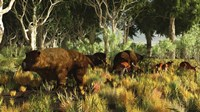 Diprotodon on the edge of a Eucalyptus forest with some early kangaroos Fine-Art Print