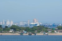 Africa, Mozambique, Maputo, port area boats Fine-Art Print