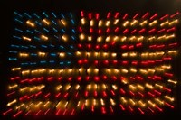 Americana Flag made of zoomed Neon Lights Fine-Art Print