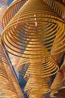 Hanging coils of burning incense, Man Mo Temple, Tai Po, New Territories, Hong Kong, China Fine-Art Print