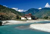 Bhutan, Punaka, Mo Chhu, Punaka Dzong, Monastery Fine-Art Print
