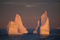 Antarctic Peninsula, icebergs at midnight sunset. Fine-Art Print