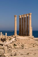 Ancient Architecture with sea in the background, Sabratha Roman site, Libya Fine-Art Print